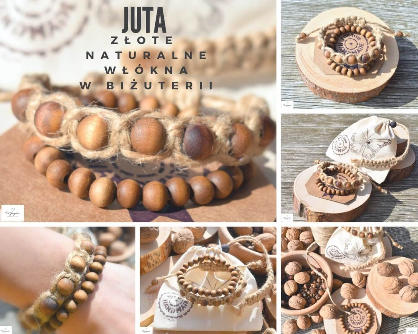 JUTA – złote, naturalne włókna w biżuterii.